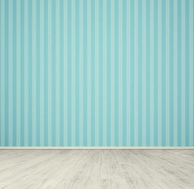 picture of laminate  - empty room with blue wallpaper and white laminated flooring board - JPG