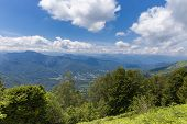 stock photo of naturel  - Valley at the Pyrenees in Boussenac in France - JPG