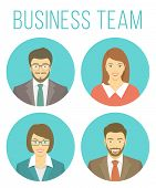 picture of avatar  - Set of modern flat round vector avatars of smiling young business people - JPG