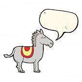 foto of donkey  - cartoon donkey with speech bubble - JPG