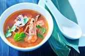 stock photo of gai  - tom yam soup in the white bowl - JPG