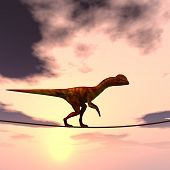 foto of dinosaurus  - Concept or conceptual abstract business metaphor as wild heavy dinosaurus balancing on rope over sunset sky background - JPG