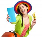 image of boarding pass  - portrait of female tourist with travel suitcase and boarding pass - JPG