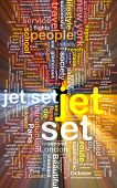 stock photo of jet  - Background text pattern concept wordcloud illustration of jet set glowing light - JPG
