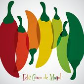 image of pepper  - Overlay chilli pepper Cinco de Mayo card in vector format - JPG