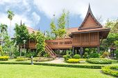 pic of canopy roof  - Thai style Teakwood home in garden Thailand