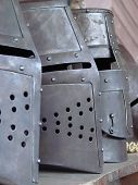 stock photo of paladin  - full plate helmets in the medieval tournament - JPG