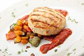 image of pork cutlet  - Grilled Chicken Cutlet with BBQ Vegetables and Spicy Sauce - JPG