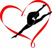 picture of gymnastic  - athlete gymnast girl with a heart logo - JPG