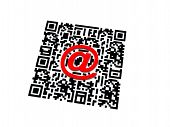 foto of qr-code  - Render of QR code with red email sign - JPG