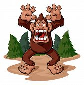 picture of bigfoot  - Cartoon illustration of a bigfoot in aggressive attitude with his jaws gaping - JPG