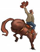picture of bucking bronco  - a cowboy in a savage horse jumping - JPG