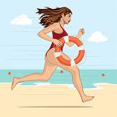 stock photo of lifeguard  - Running woman  - JPG