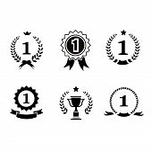 picture of rosettes  - Set of black and white circular  winner emblems and leader icons with laurel wreaths and ribbon rosettes enclosing the number 1  an award trophy and crown - JPG