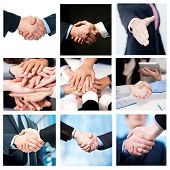 picture of work crew  - Collage of business deals and team work efforts - JPG