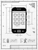 picture of cell block  - Stylized drafting of phone with title block - JPG