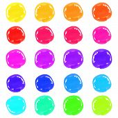 foto of marker pen  - Multicolor marker pen circle spots isolated on a white background for your design - JPG
