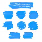 image of marker pen  - Light blue marker pen spots and lines isolated on a white background for your design - JPG