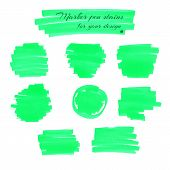 stock photo of neon green  - Neon green marker pen spots and lines isolated on a white background for your design - JPG