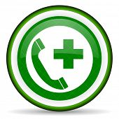 stock photo of accident emergency  - emergency call green icon   - JPG