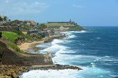 stock photo of el morro castle  - San Juan Castillo San Felipe del Morro El Morro and Old San Juan skyline by the sea - JPG