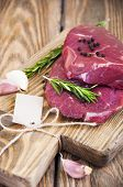 image of beef shank  - Fresh beef steak with aromatic spices on a wooden background  - JPG