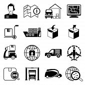 stock photo of shipping receiving  - set of 16 shipping and logistic icons - JPG