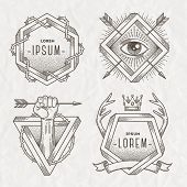 image of impossible  - Tattoo style line art emblem with heraldic elements and impossible shape  - JPG