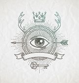 foto of occult  - Abstract tattoo style line art emblem with heraldic elements and undercover symbols  - JPG