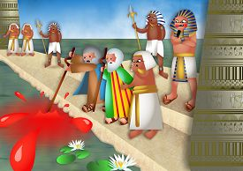 foto of pharaohs  - A cartoon biblical illustration showing Moses and Aaron standing before pharaoh by the river Nile in Egypt and turning the water into blood - JPG