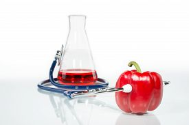 foto of modification  - Stethoscope with a red pepper analytical Genetic Modification - JPG