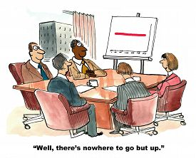 picture of going out business sale  - Business cartoon showing five businesspeople in a business meeting and a chart with flat sales - JPG