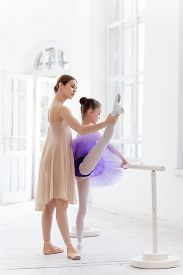 image of ballet barre  - The little ballerina in tutu with personal classic ballet teacher in dance studio posing at ballet barre on a white studio background - JPG