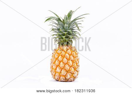 poster of ripe pineapple is  tropical fruit on white background healthy pineapple fruit food isolated