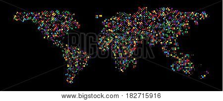 poster of Abstract Hatched World Map with scuare. Travel Vector Illustration. Earth world map of rainbow. Abstract geography vector background
