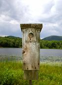 Wooden Bird Feeder Overlooking Lake