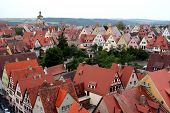 Ancient Red Roof Houses, Rothenburg Ob Der Tauber