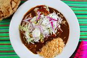 enchiladas of mole and rice Mexican food colorful tablecloth