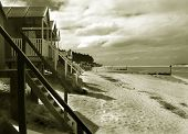 picture of beach hut  - Wooden beach huts at Wells - JPG