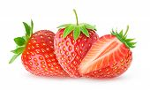 Three Isolated Strawberries poster