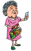 Cartoon Of Old Lady Shopping With Shopping List