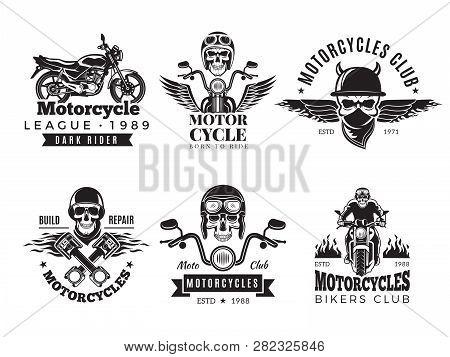 Biker Labels  Vintage Custom Motorcycle And Symbols For Badges Skull Bike  Flags Wheel Bones Engine F poster