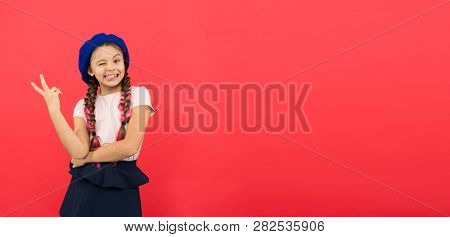 poster of Just Having Fun. Summer Holidays. Kid Little Cute Fashion Girl Posing With Long Braids And Hat Red B