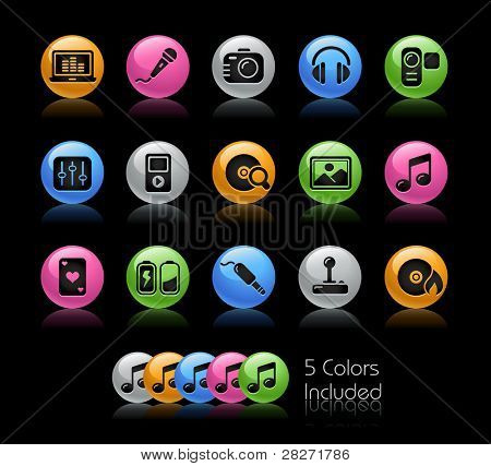 poster of Media Icons / The file Includes 5 color versions in different layers.