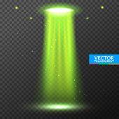 Ufo Light Beam. Alien Transport Futuristic Bright Light In Dark On Transparent. Ufo Spaceship Isolat poster