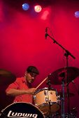 CLARK, NJ - SEPTEMBER 11: Drummer / Percussionist Dan Konopka of the band OK Go performs at the Unio