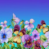 Beautiful Vibrant Violet Flowers With Green Leaves On Blue Sky Background. Seamless Floral Pattern. poster