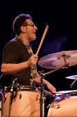 CLARK, NJ - SEPT 16: Drummer Ramy Antoun performs at the Union County Music Fest on September 16, 20
