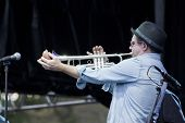 CLARK, NJ - SEPT 18: Trumpet player for the band Southside Johnny & The Asbury Jukes performs at the