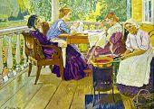 Needlewoman -  illustration by A.Korin,